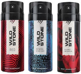 Wild Stone Ultra Sensual Hydra Energy & Red Deodorant (Pack Of 3)