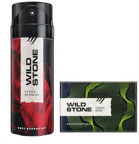 Wild Stone Ultra Sensual Deodorant(150ml ) and Forest Spice Soap(125g ) Pack of 2