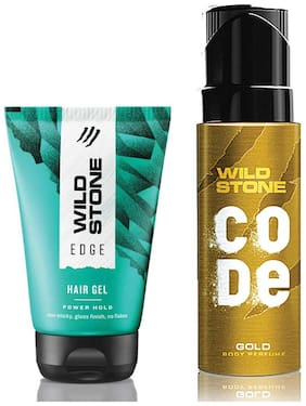 Wild Stone Code Gold Body Perfume (120 ml) and Edge Hairgel (100 ml) For Men, Pack of 2