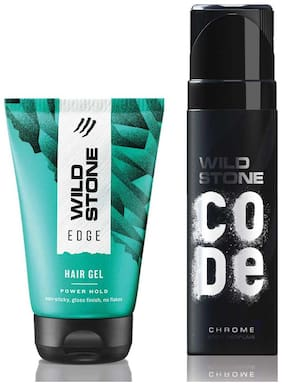 Wild Stone Code Chrome Body Perfume (120 ml) and Edge Hairgel (100 ml) For Men, Pack of 2