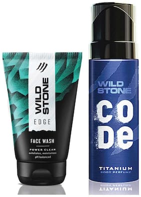 Wild Stone Code Titanium Body Perfume (120 ml) and Edge Face Wash (100 ml) For Men, Pack of 2