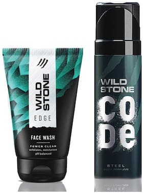 Wild Stone Code Steel Body Perfume (120 ml) and Edge Face Wash (100 ml) For Men, Pack of 2