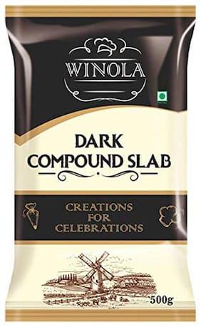 Winola Dark Compound Slab- Dark Baking Chocolate Bar for Chocolate, Cake and Cookies (500g)