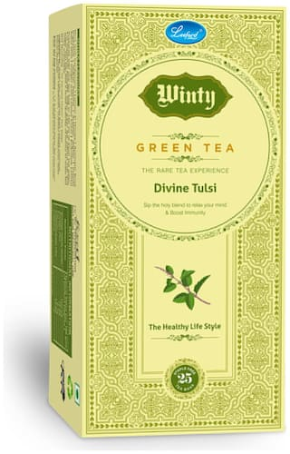 Winty Divine Tulsi Green Tea to Relax Mind & Boost Immunity Pack of 2 (25 Bags Each)