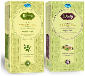 Winty Divine Tulsi & Digestive Green Tea for Immunity Booster and Good Digestion Combo pack (25 Bags Each)
