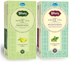 Winty Green Tea Exquisite Lemon & Indian Matcha for Healthy Benefits Combo Pack (25 Tea Bags Each)