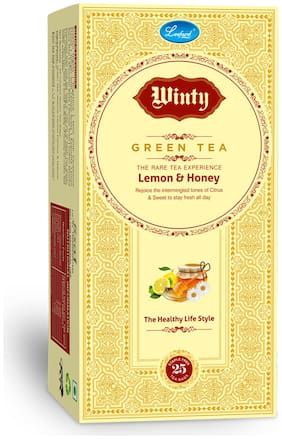 Winty Lemon & Honey Green Tea with Refreshing Flavor of Lemon with Goodness of Honey for Weight Loss Pack of 2 (25 Bags Each)