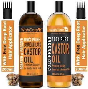 WishCare 100% Pure Cold Pressed Castor Oil 200 ml & Jamaican Black Castor Oil 200 ml Pack of 2