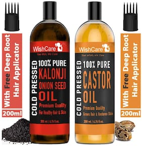 Wishcare 100% Pure Cold Pressed Castor Oil 200 ml & Kalonji Black Onion Seed Oil 200 ml Pack of 2
