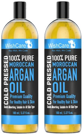 WishCare 100% Pure Cold Pressed & Natural Moroccan Argan Oil 100 ml Pack of 2