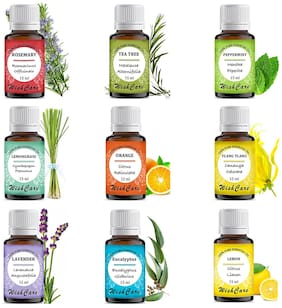 WishCare Essential Oil 9 In One Pack |Undiluted & Natural Therapeutic Grade| Lemon Grass, Lemon, Lavender, Orange, Tea Tree, Peppermint, Eucalyptus, Rosemary, Ylang Ylang, 15 ml Each Pack of 9