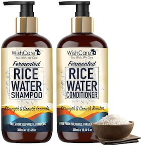 WishCare Fermented Rice Water Shampoo & Conditioner- Strength & Growth Formula - Free from Mineral Oils, Sulphates & Parabens - For All Hair Types - 300 ml each (Pack of 2)