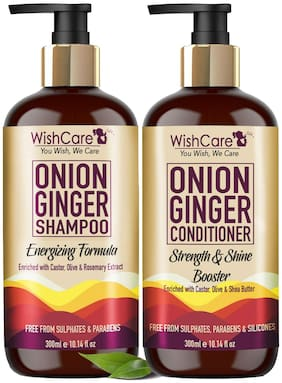WishCare Red Onion Ginger Shampoo 300 ml & Conditioner 300 ml Pack of 2