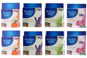 Wonder Fresh Air freshener 2 pcs Mogra x 50g, 2 pcs Lavender x 50g, 2 pcs Rose x 50g, 2 pcs Jasmine x 50g (Pack of 8)