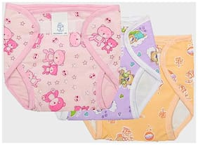 Wonder Star premium quality small baby Outside Printed Cotton inside Plastic Waterproof Diaper Langot for 6-12 Months pack of 3 Multicolor (Assorted Mix color & Design)