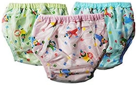 Wonder Star Premium Quality Multicolor Reusable Dippers pants for small baby. Diaper/Langot for 6-12 Months babies Pack Of 3Multicolor. (Assorted Mix color & Design)