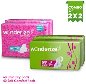 Wonderize Ultra Dry Anti Leak Xl Sanitary Pads With 3X More Absorption (60Pads) + Soft Comfort Regular Size Sanitary Napkins For Women (40Pads)