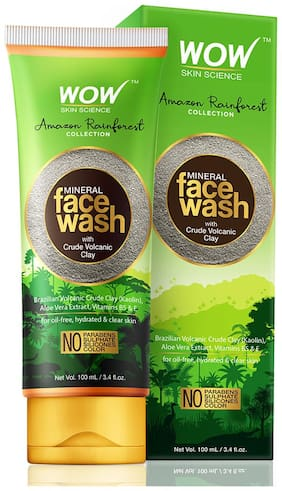 WOW Amazon Rainforest Collection - Mineral Face Wash with Crude Volcanic Clay - No Parabens Sulphate Silicones and Color 100 ml(Pack of 1)
