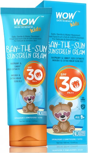 WOW Kids Ban-The-Sun Sunscreen Cream Spf 30 ++ - No ParabensSiliconesOxide ColorMineral Oil and Benzophenone-100 ml(Pack of 1)