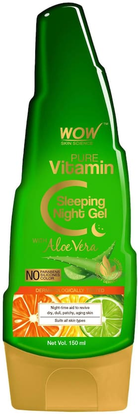 WOW Skin Science Pure Vitamin C Sleeping Night Gel with Aloe Vera - Night Time Aid to Revive Dry;Dull & Aging Skin - Non Sticky Cream 150ml (Pack of 1)