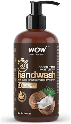 WOW Skin Science Coconut Milk Moisturizing Handwash 20 Seconds No Sulphate Parabens Silicones Color & Triclosan 500 ml (Pack of 1 )