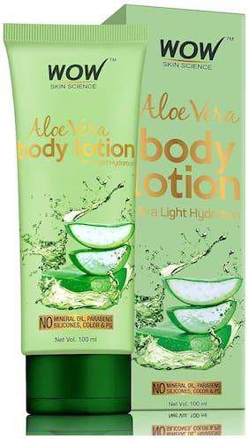 WOW Skin Science Aloe Vera Body Lotion - Ultra - Light Hydration - 100 ml - Tube(Pack of 1)