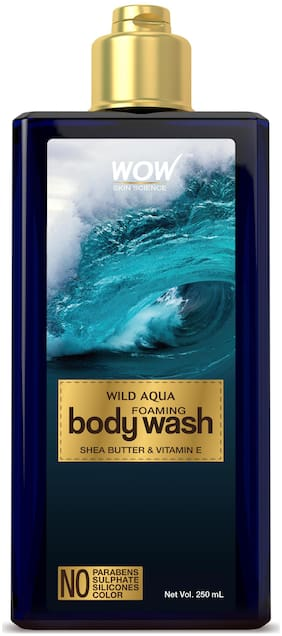 WOW Skin Science Wild Aqua Foaming Body Wash - No Parabens, Sulphate, Silicones & Color - 250mL