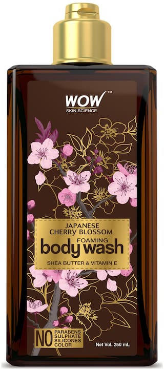 WOW Skin Science Japanese Cherry Blossom Foaming Body Wash - No Parabens, Sulphate, Silicones & Color - 250mL