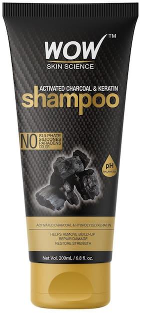 WOW Skin Science Activated Charcoal & Keratin Shampoo Tube (200 ml)