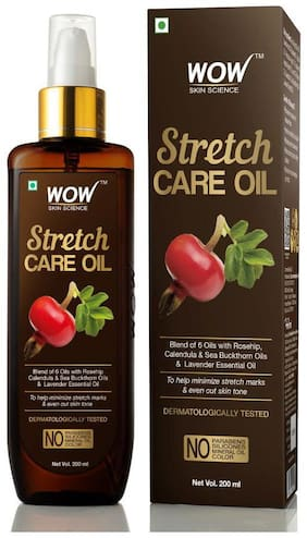 WOW Skin Science Stretch Care Oil to Minimize Stretch Marks of 6 Oils No Parabens Silicones Mineral Oil & Color 200 ml (Pack of 1 )