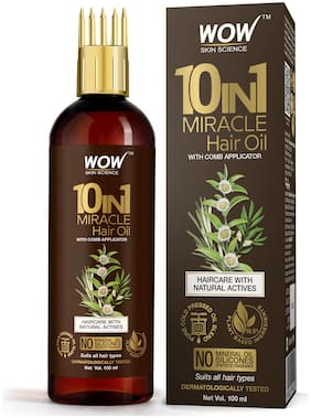 WOW Skin Science 10 in 1 Miracle Hair Oil WITH COMB APPLICATOR Cold Pressed No Mineral Oil Silicones & Synthetic Fragrance 100 ml (Pack Of 1)