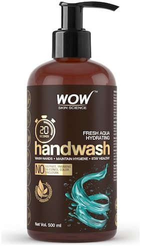 WOW Skin Science Fresh Aqua Hydrating Handwash 20 Seconds No Sulphate Parabens Silicones Color & Triclosan 500 ml (Pack of 1 )