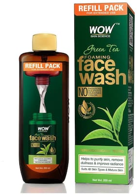 WOW Skin Science Green Tea Foaming Face Wash 200ml (Pack of 1)
