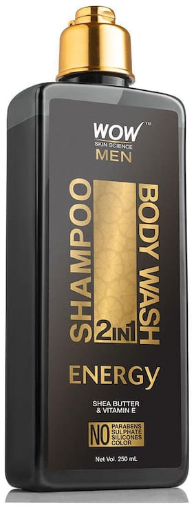 WOW Skin Science Energy 2-in-1 Shampoo Plus Body Wash - No Parabens Sulphate Silicones & Color (250 ml)(Pack of 1)