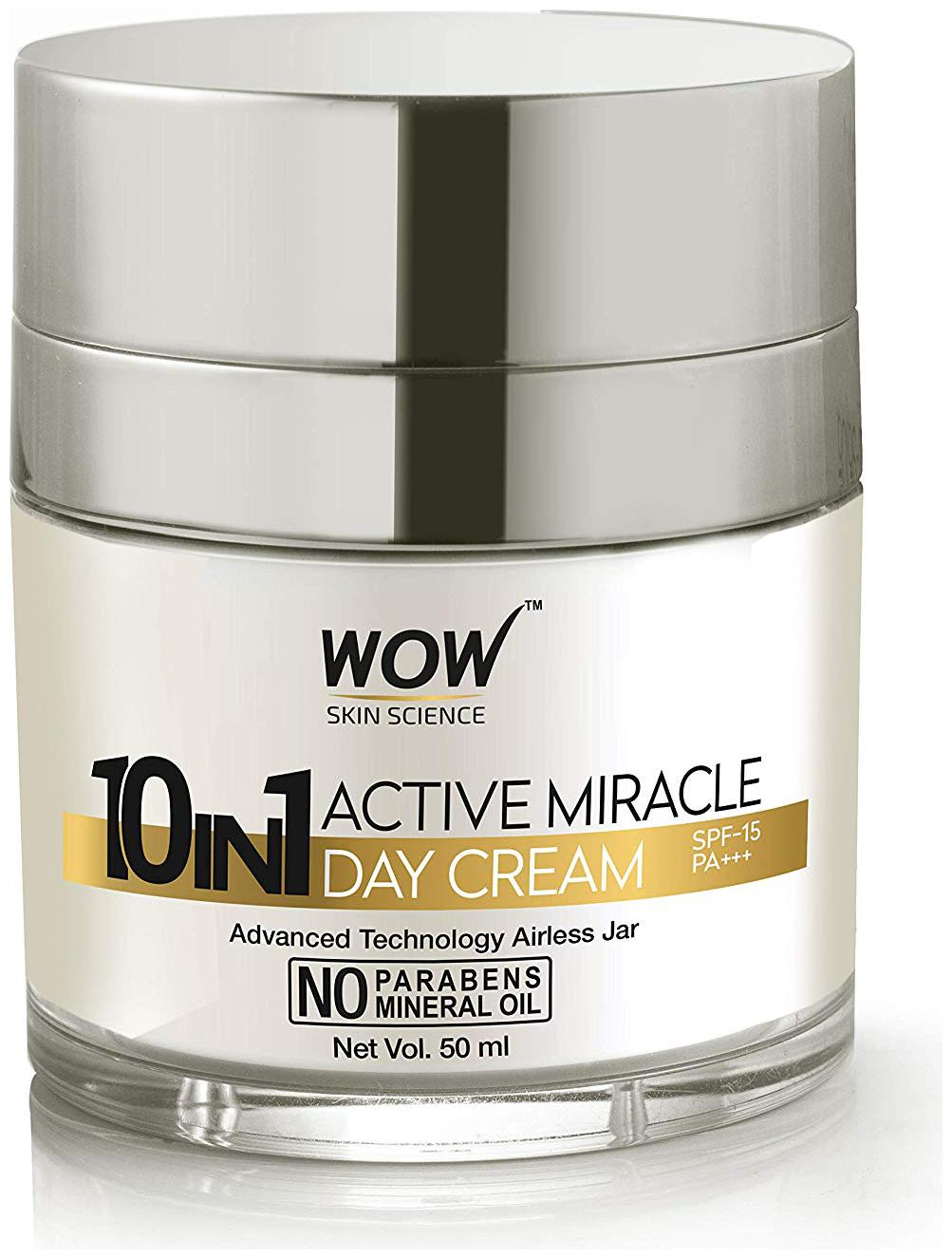 WOW Skin Science 10 in 1 Active Miracle No Parabens & Mineral Oil Day Cream 50ml