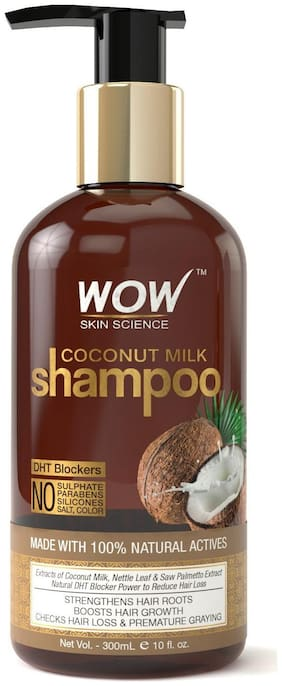 Wow Skin Science Coconut Milk Shampoo (New) - No Parabens  Sulphate  Silicones  Color & Salt - Dht Blockers - 300Ml