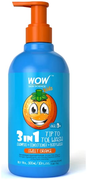WOW Skin Science Kids 3 in 1 Tip to Toe Wash - Sweet Orange - 300 mL