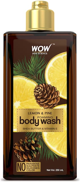 WOW Skin Science Lemon & Pine Foaming Body Wash - No Parabens, Sulphate, Silicones & Color - 250mL