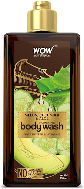 WOW Skin Science Melon, Cucumber & Aloe Foaming Body Wash - No Parabens, Sulphate, Silicones & Color - 250mL