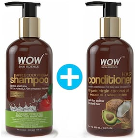 WOW Skin Science Apple Cider Vinegar Shampoo with WOW Skin Science Hair Conditioner Combo Kit (Pack of 2)
