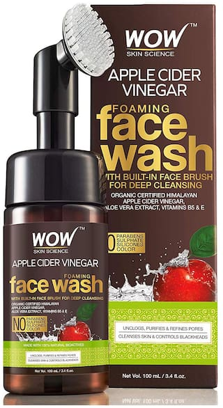 Wow Skin Science Apple Cider Vinegar Foaming Face Wash No Parabens, Sulphate And Silicones (With BuiltIn Brush), 100 ml