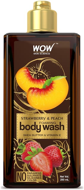 WOW Skin Science Strawberry & Peach Foaming Body Wash - No Parabens, Sulphate, Silicones & Color - 250mL