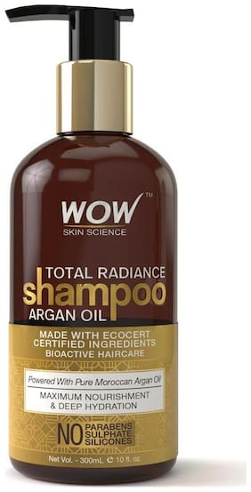 Wow Skin Science Total Radiance Shampoo - Infused With Argan Oil - No Parabens  Sulphates & Silicones - 300 Ml