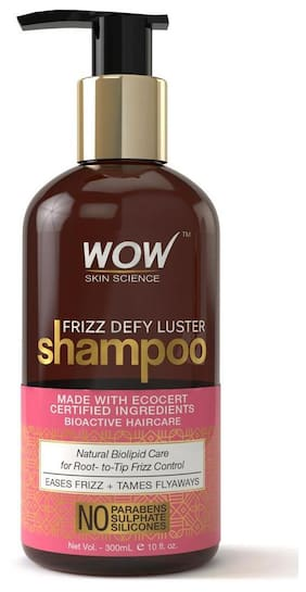 Wow Skin Science Frizz Defy Luster Shampoo - No Parabens  Sulphates & Silicones - 300Ml