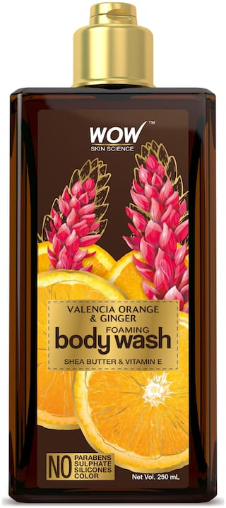 WOW Skin Science Valencia Orange & Ginger Foaming Body Wash - No Parabens, Sulphate, Silicones & Color - 250mL