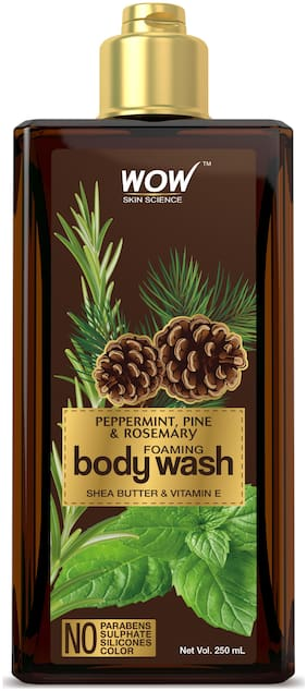 WOW Skin Science Peppermint, Pine & Rosemary Foaming Body Wash - No Parabens, Sulphate, Silicones & Color - 250mL