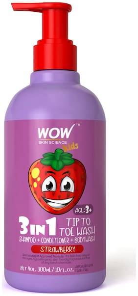 WOW Skin Science Kids 3 in 1 Tip to Toe Wash - Strawberry - 300 mL