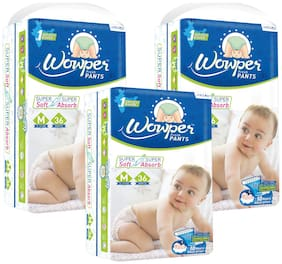 Wowper Fresh Pants Diapers Medium 36 pcs (Pack Of 3)