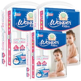 Wowper Fresh Pants Diapers Large 48 pcs(Pack Of 3)