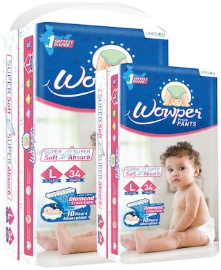 Wowper Fresh Pants Diapers - L (Set of 2) 34 Pieces in each pack
